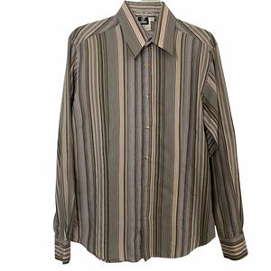 Versace Jean Couture Striped Button Down Long Sleeves Shirt
